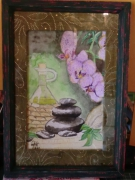tableau autres galet orchidee feuille vert : Z�nitude1